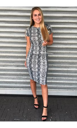 GREY SNAKE - 'LARA' - SUPER SOFT MIDI DRESS