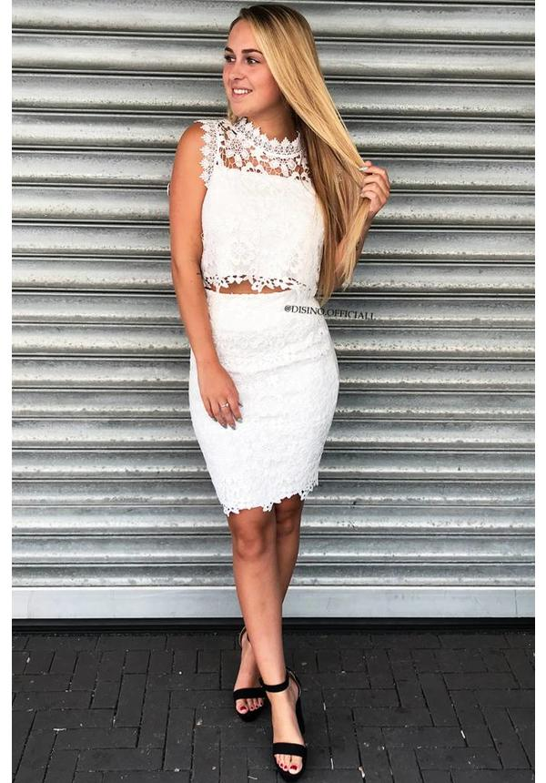 WHITE - 'LINDSEY' - CROCHET LACE TWO PIECE