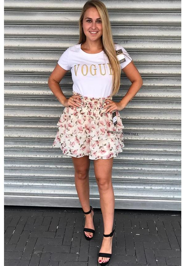 CREME - 'LILY' - FLORAL RUFFLE SKIRT