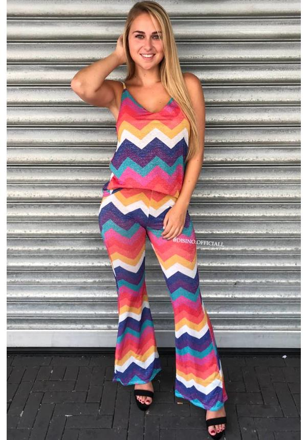 'ABBY' - FUNKY STRIPED GLITTER FLAIR TWO PIECE
