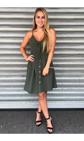 KHAKI GREEN - 'JENNY' - TIE UP BUTTON DRESS