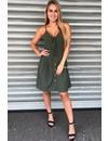 KHAKI GREEN - 'JENNY' - TIE UP BUTTON DRESS