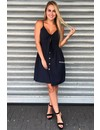 NAVY - 'JENNY' - TIE UP BUTTON DRESS