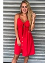 RED - 'JENNY' - TIE UP BUTTON DRESS
