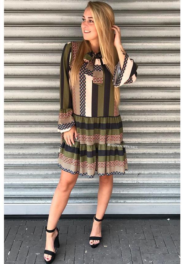 KHAKI - 'DONNA MILA 2.0' - KNOTTED INSPIRED DRESS