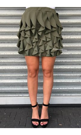 KHAKI GREEN - 'BUBBLEGUM' SKIRT