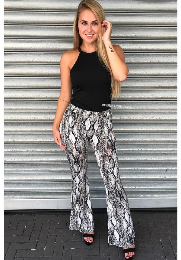 'MILA' - SNAKE PRINT SOFT TOUCH FLARE PANTS