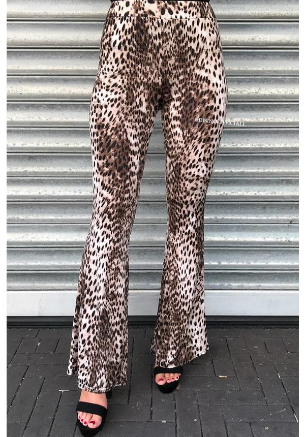BROWN - 'MILA' - LEOPARD PRINT SOFT TOUCH FLARE PANTS