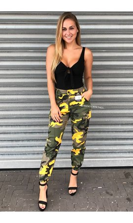 YELLOW - CAMO CARGO PANTS