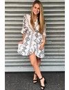 WHITE - 'ALEXIS' - SNAKE PRINT RUFFLE DRESS