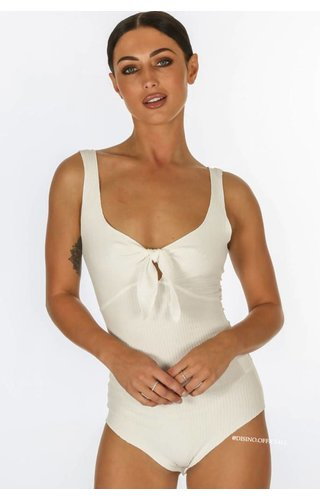 WHITE - 'TIA' - RIBBED TIE UP BODYSUIT