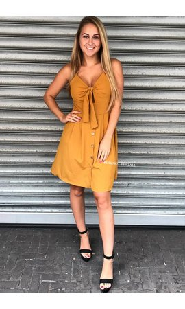 MUSTARD - 'JENNY' - TIE UP BUTTON DRESS