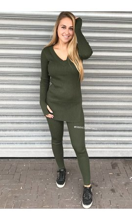 OLIVE GREEN - 'REINA' - PREMIUM QUALITY RIBBED TWIN SET