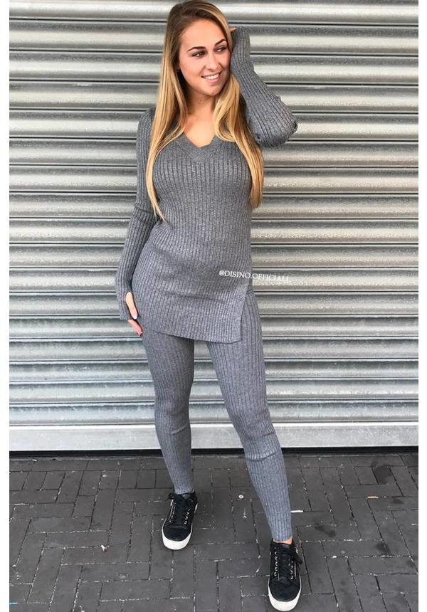 GREY MELANGE - 'REINA' - PREMIUM QUALITY RIBBED TWIN SET