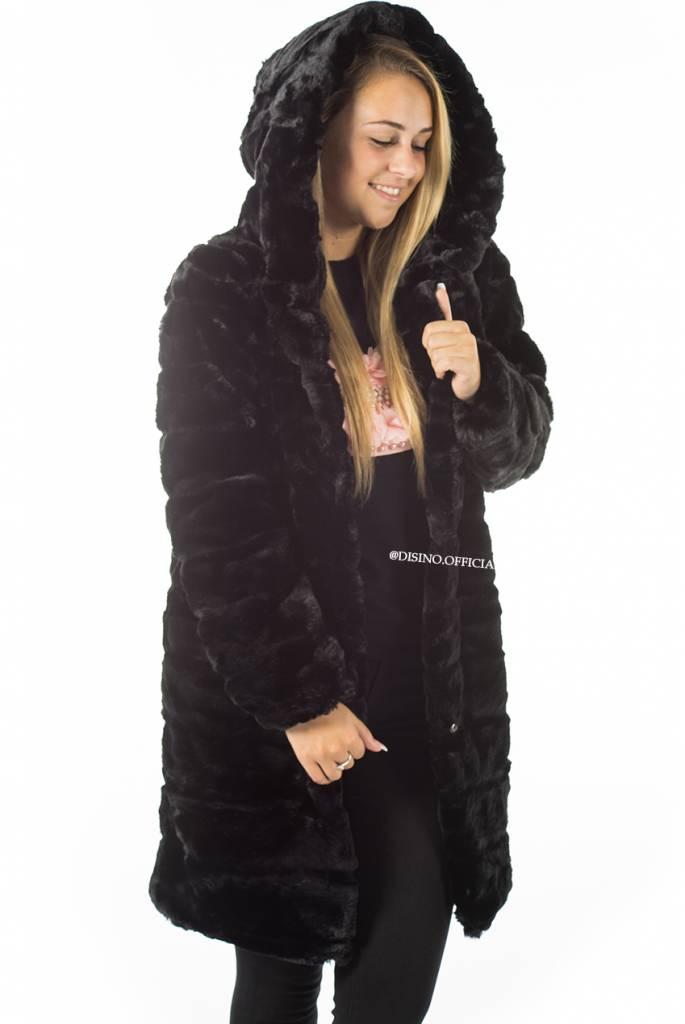 zwarte fur jas