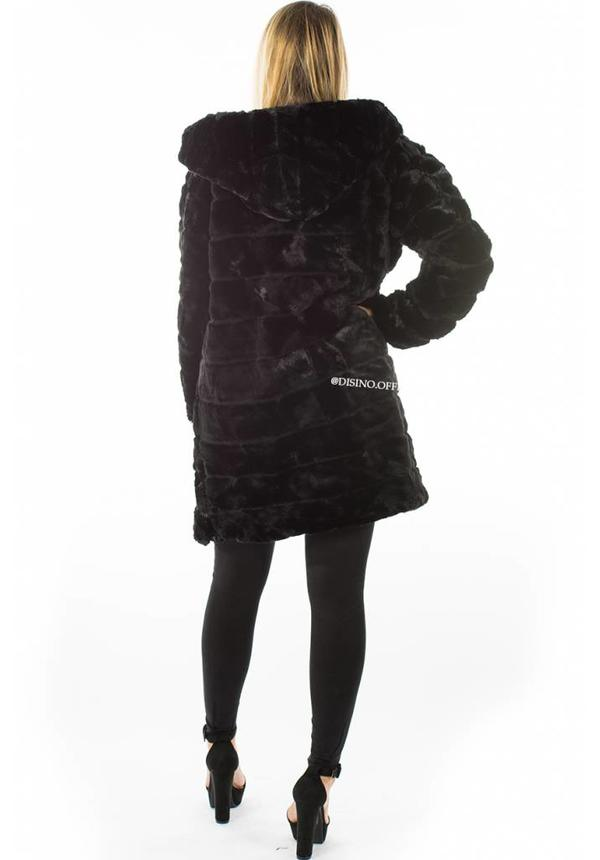 BLACK - 'SOPHIE' - LONG SUPER SOFT FAUX FUR COAT