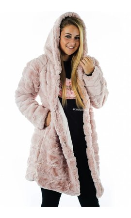 DUSTY PINK - 'SOPHIE' - LONG SUPER SOFT FAUX FUR COAT