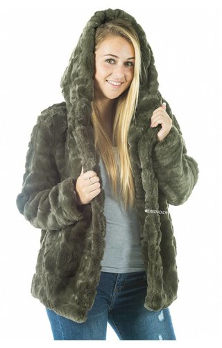 OLIVE GREEN - 'FIONA' - SHORT SUPER SOFT FAUX FUR JACK