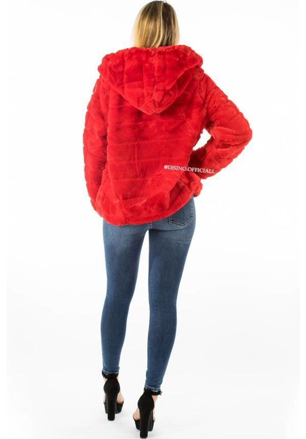 RED - 'FIONA' - SHORT SUPER SOFT FAUX FUR JACK