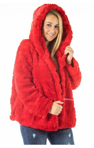 RED - 'FIONA' - SHORT SUPER SOFT FAUX FUR JACK