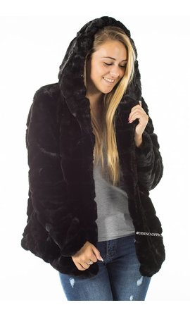 BLACK - 'FIONA' - SHORT SUPER SOFT FAUX FUR JACK