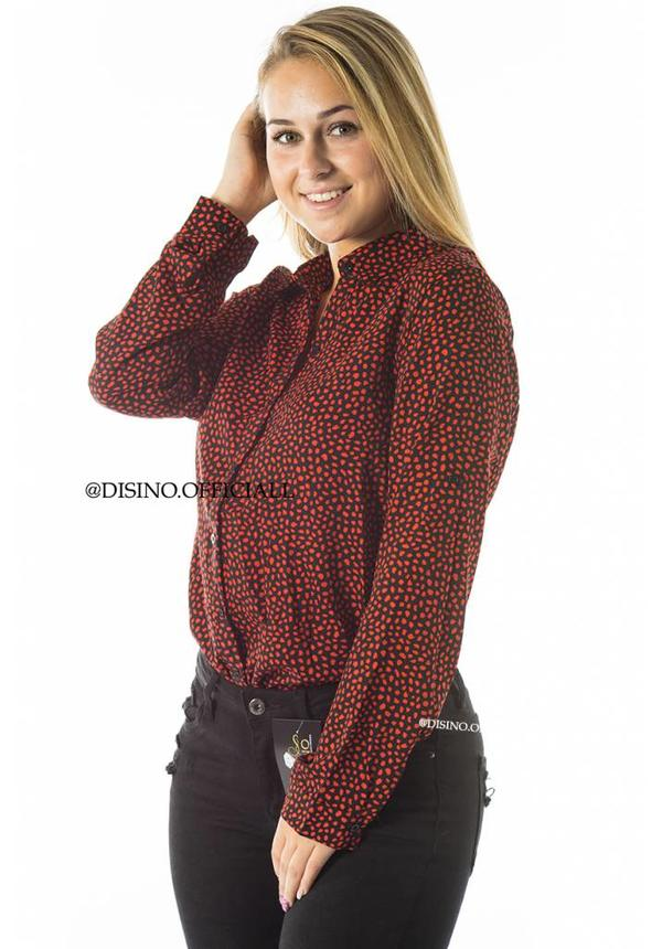 RED - 'KLARA' - DOTTED LEO PRINT BLOUSE