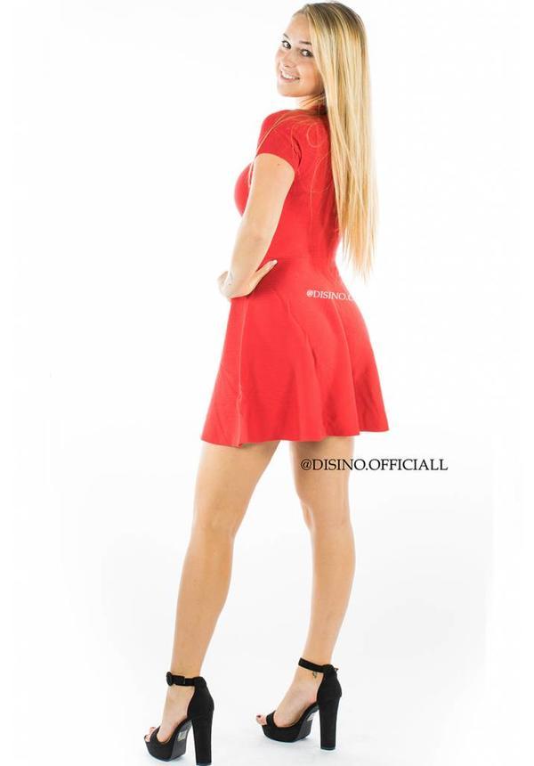 RED - 'ANNA' - RIBBED SKATER DRESS