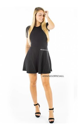 BLACK - 'ANNA' - RIBBED SKATER DRESS