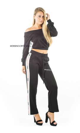 BLACK - 'VIVIANNE' - OFF SHOULDER TRACKSUIT