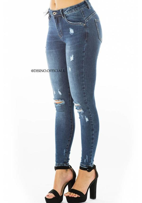 QUEEN HEARTS JEANS - DARK BLUE - SKINNY DISTRESSED JEANS - 9522