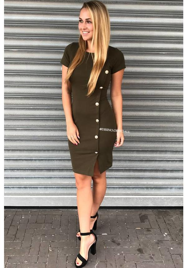 OLIVE GREEN - 'VERA' - GOLDEN BUTTON DRESS