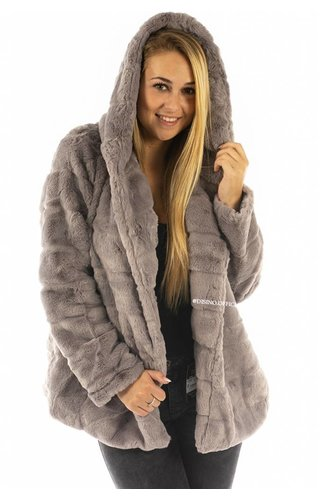 GREY - 'FIONA' - SHORT SUPER SOFT FAUX FUR JACK