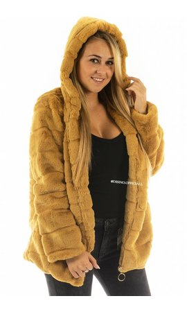 MUSTARD - 'FIONA ZIP' - SHORT SUPER SOFT FAUX FUR JACK MET RITS