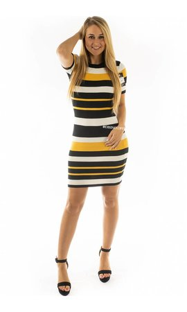YELLOW - 'NIKKIE' - STRIPED RIBBED DRESS