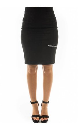 BLACK - 'GABY' - SUEDINE MIDI PENCIL SKIRT