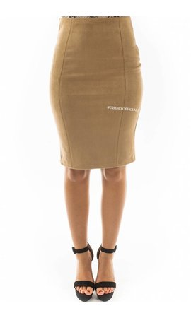 BEIGE - 'GABY' - SUEDINE MIDI PENCIL SKIRT