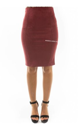 BURGUNDY - 'GABY' - SUEDINE MIDI PENCIL SKIRT