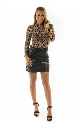 'MILEY' - LEATHER LOOK BELTED SKIRT