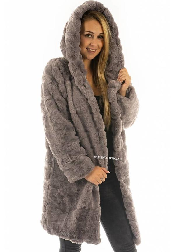 GREY - 'SOPHIE' - LONG SUPER SOFT FAUX FUR COAT