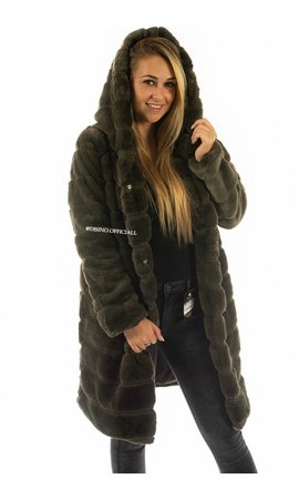 OLIVE GREEN - 'SOPHIE' - LONG SUPER SOFT FAUX FUR COAT