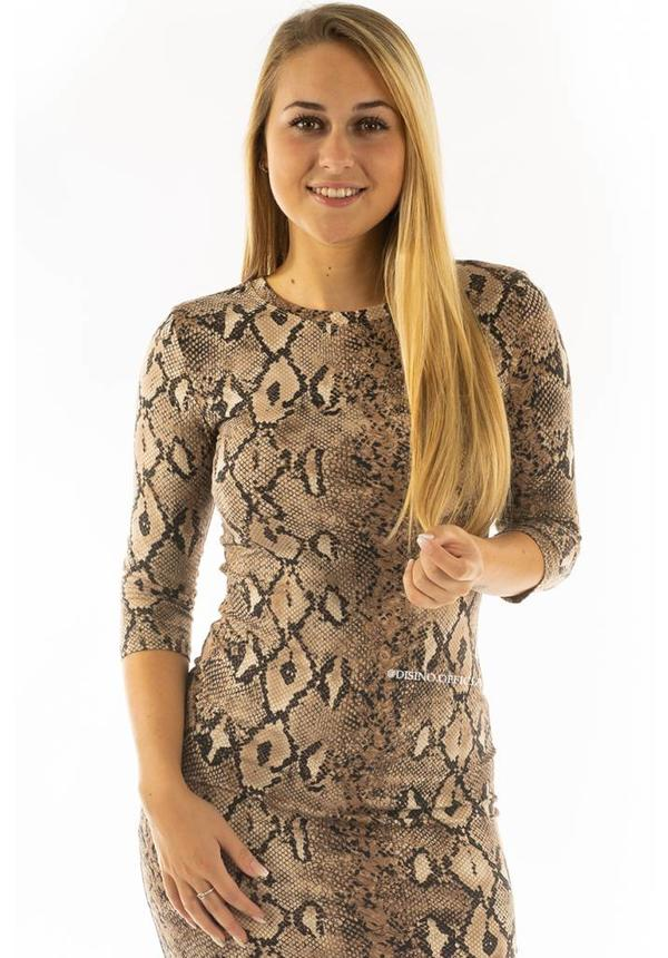 BEIGE SNAKE - 'LISA' - SUPER SOFT MIDI DRESS