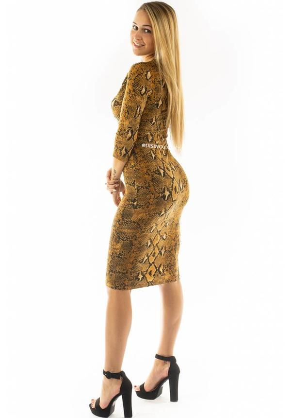 OCHER SNAKE - 'LISA' - SUPER SOFT MIDI DRESS