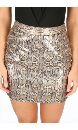 METALLIC SNAKE PRINT MINI SKIRT