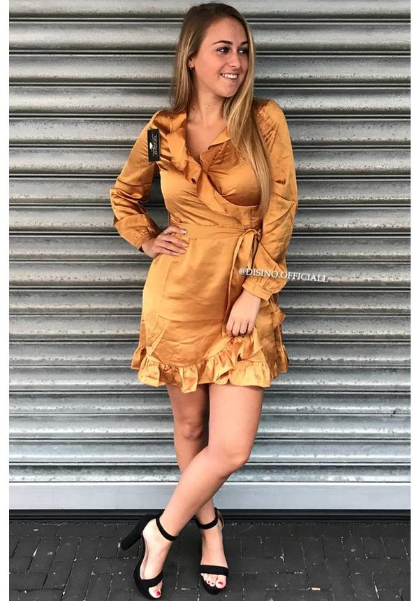 OCHER - 'RUBY' - SATIN RUFFLE DRESS