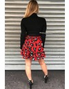 CORAL RED - 'LEONIE' - LEOPARD WRAP RUFFLE SKIRT