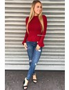 BURGUNDY - 'MADDY' - RIBBED BELL SLEEVE TOP