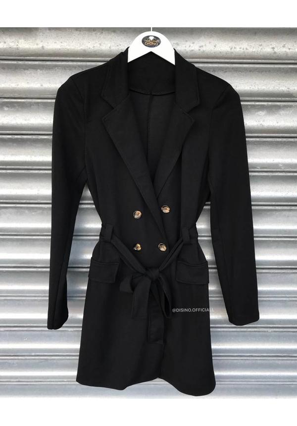 BLACK - 'MADISON' - BUTTON TRENCH COAT BLAZER