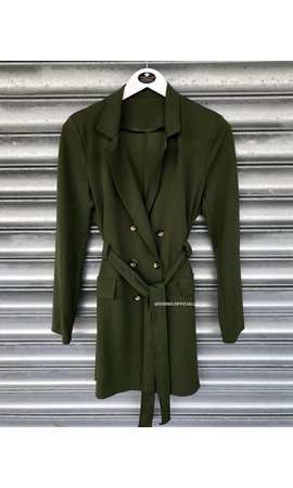 OLIVE GREEN - 'MADISON' - BUTTON TRENCH COAT BLAZER