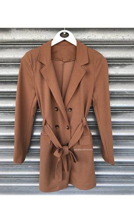 CAMEL - 'MADISON' - BUTTON TRENCH COAT BLAZER