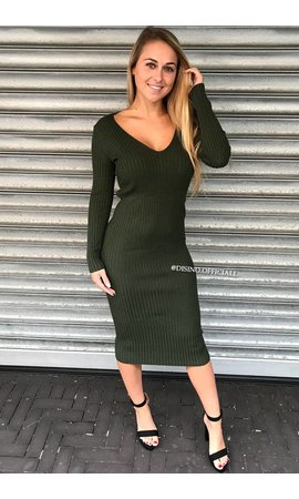 OLIVE GREEN - 'REINA' - PREMIUM QUALITY COMFY DRESS